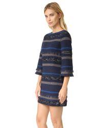 Alice + Olivia - Blue Evelina Bell Sleeve A Line Dress - Lyst
