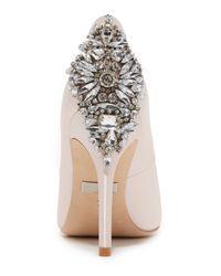 Badgley Mischka - White Dawn Embellished Satin Ankle Strap High Heel Pumps - Lyst