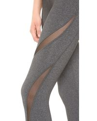 Beyond Yoga - Gray Double Panel Mesh Capri Leggings - Lyst