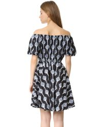 Caroline Constas - Multicolor Bardot Embroidered Dress - Lyst