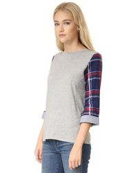 CLU - Gray Too Contrast Sleeve Top - Lyst
