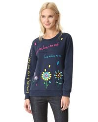 MIRA MIKATI - Blue Love Me Embroidered Sweatshirt - Lyst