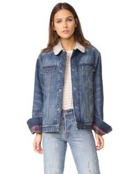 Current/Elliott   Blue The Zip Hendrix Jacket With Sherpa Lining   Lyst