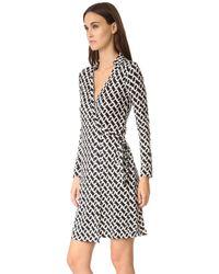 Diane von Furstenberg | White 'new Jeanne Two' Print Silk Wrap Dress | Lyst