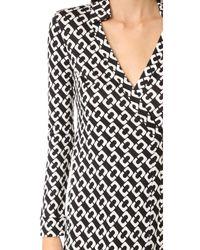 Diane von Furstenberg - Black 'new Jeanne Two' Print Silk Wrap Dress - Lyst