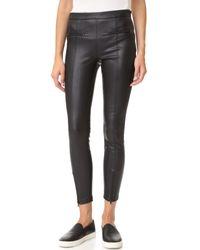 David Lerner   Black Vegan Leather Front Zip Leggings   Lyst