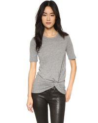 Enza Costa   Gray Side Knot Tee   Lyst