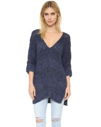 Free People | Blue Georgia V Sweater | Lyst