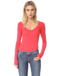 Free People - Red Easy Peasy Tee Bodysuit - Lyst