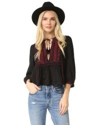 Free People | Black The Wild Life Embroidered Top | Lyst