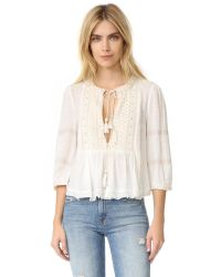 Free People | White The Wild Life Embroidered Top | Lyst