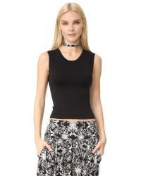 Free People | Black Cropped Seamless Muscle Tank | Lyst