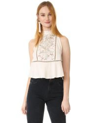 Free People   White Flora Top   Lyst
