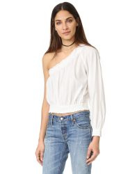 Free People | White Annabelle Asymmetrical Top | Lyst