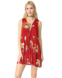 Free People | Red Lovely Day Printed Tunic Dress | Lyst