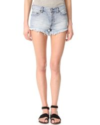 Free People   Blue Soft & Relaxed Cutoff Shorts   Lyst