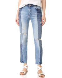 Free People | Blue Patchwork Skinny Jeans | Lyst