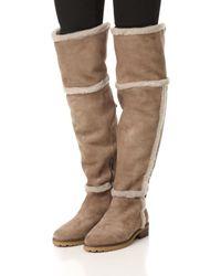 Frye - Brown Tamara Shearling Over-the-knee Boot - Lyst