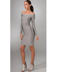 Hervé Léger | Gray Signature Essential Long Sleeve Cocktail Dress | Lyst