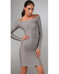 Hervé Léger - Gray Signature Essential Long Sleeve Cocktail Dress - Lyst