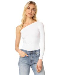 Helmut Lang | White Long Sleeve One Shoulder Top | Lyst
