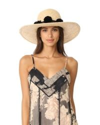 Kate Spade | Black Sunhat With Pom-poms | Lyst