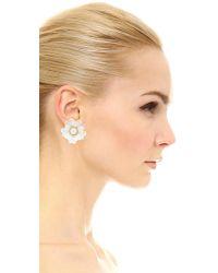 Kate Spade - White Bright Blossom Flower Stud Earrings - Lyst