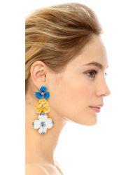 Kenneth Jay Lane - Blue Triple Flower Drop Earrings - Lyst