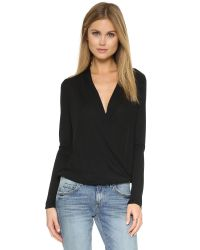Lanston | Black Surplice Long Sleeve Top | Lyst