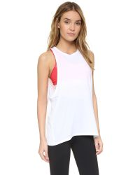 Live The Process - White Linear V Tank With Bra - Lyst