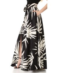 MILLY - Black Palm Print Jackie Maxi Skirt - Lyst