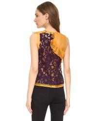 MSGM - Yellow Lace Ruffle Top - Lyst