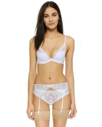 Natori - White Feathers Garter Belt - Lyst