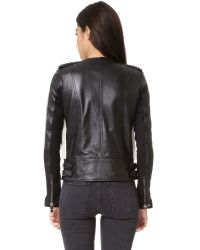 Nour Hammour - Black Monica Shearling Motorcycle Jacket - Lyst