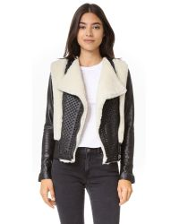 Nour Hammour | Black Monica Shearling Motorcycle Jacket | Lyst