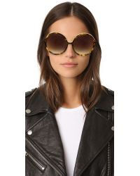 N°21 - Brown Oversized Round Sunglasses - Lyst