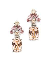 Oscar de la Renta - Multicolor Floral Navette Small Drop Earrings - Lyst