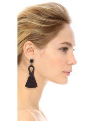 Oscar de la Renta - Black Short Silk Tassel Clip On Earrings - Lyst