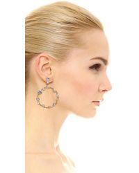 Oscar de la Renta - Metallic Circular Crystal Earrings - Lyst