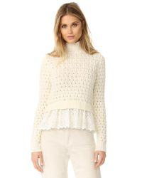 Rebecca Taylor | Natural Mock Neck Sweater | Lyst