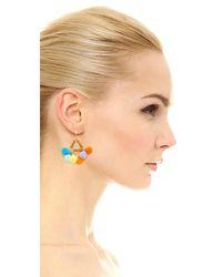 Rebecca Minkoff - Blue Savanna Pom Pom Chandelier Earrings - Lyst