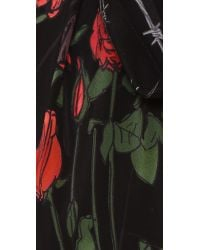 Rockins   Red Classic Skinny Fringed Roses Silk Scarf   Lyst