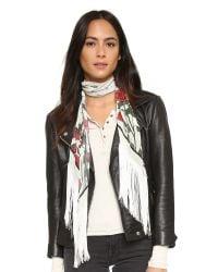 Rockins | White Classic Skinny Fringed Roses Silk Scarf | Lyst