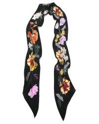 Rockins - Metallic Floral Super Skinny Silk Scarf - Lyst