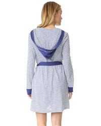 Splendid - Blue Hooded Cotton Blend Robe - Lyst