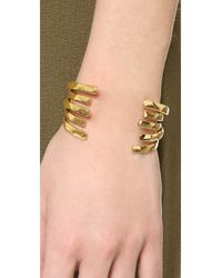Tory Burch - Metallic Wrapped Crescent Cuff Bracelet - Lyst