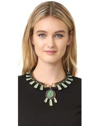 Tory Burch - Green Oxidized Statement Collar Necklace - Lyst