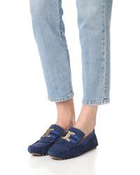 Tory Burch - Blue Gemini Link Driver Loafers - Lyst