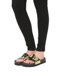 United Nude - Metallic Lo Res Earth Chrome Slide Sandals - Lyst