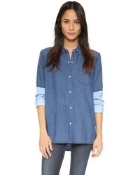 Vince - Blue Colorblock Chambray Blouse - Lyst